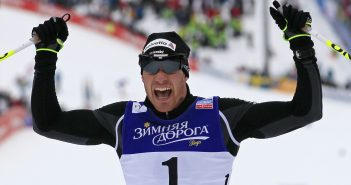 Dario Cologna of Switzerland celebrates after winning in the men's skiathlon competition at the Nordic World Ski Championships in the northern mountain resort of Tesero in Val di Fiemme February 23, 2013. REUTERS/Yves Herman (ITALY - Tags: SPORT SKIING) - RTR3E5YY